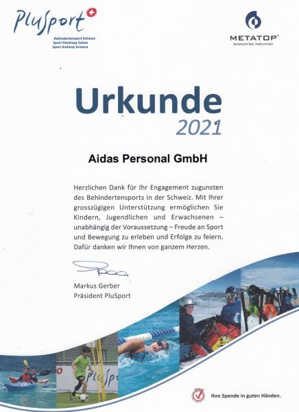 Plusport 2021 Urkunde